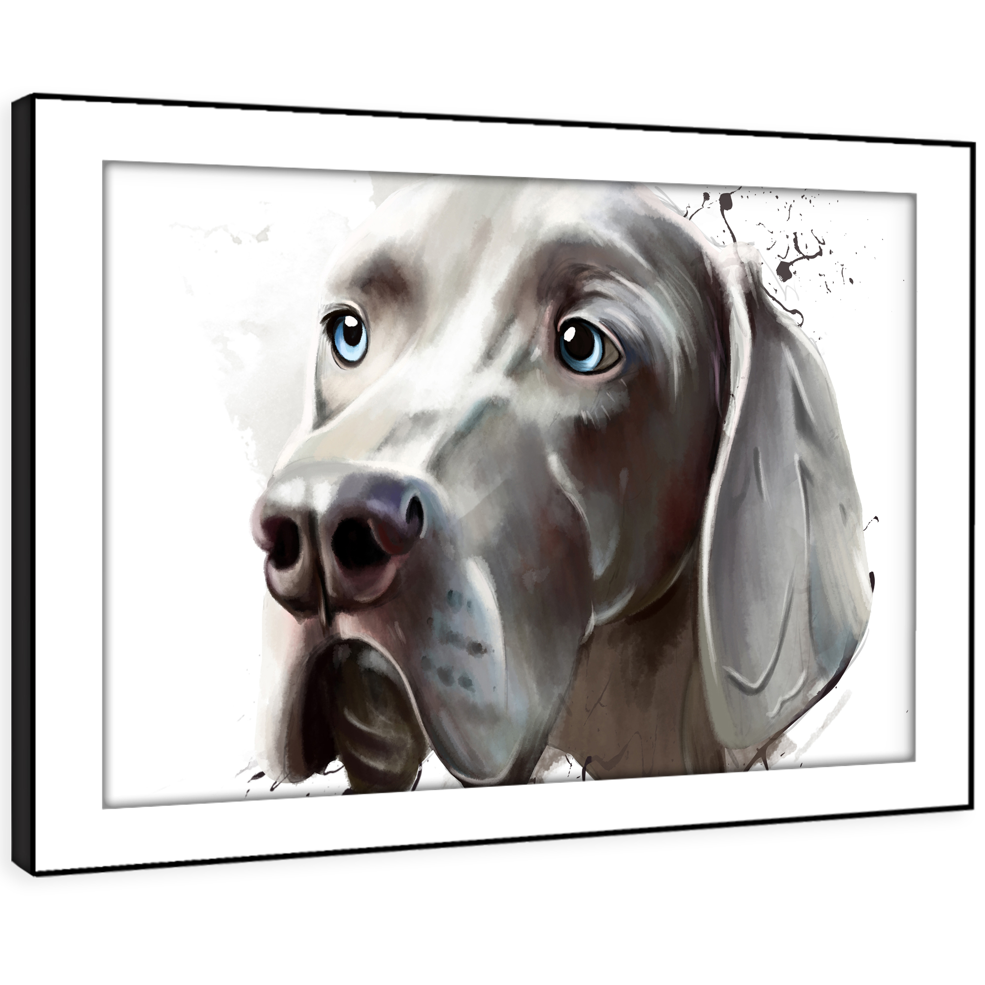 A796 grau Hound Watercolour  Funky Animal Framed Wall Art Large Picture Prints