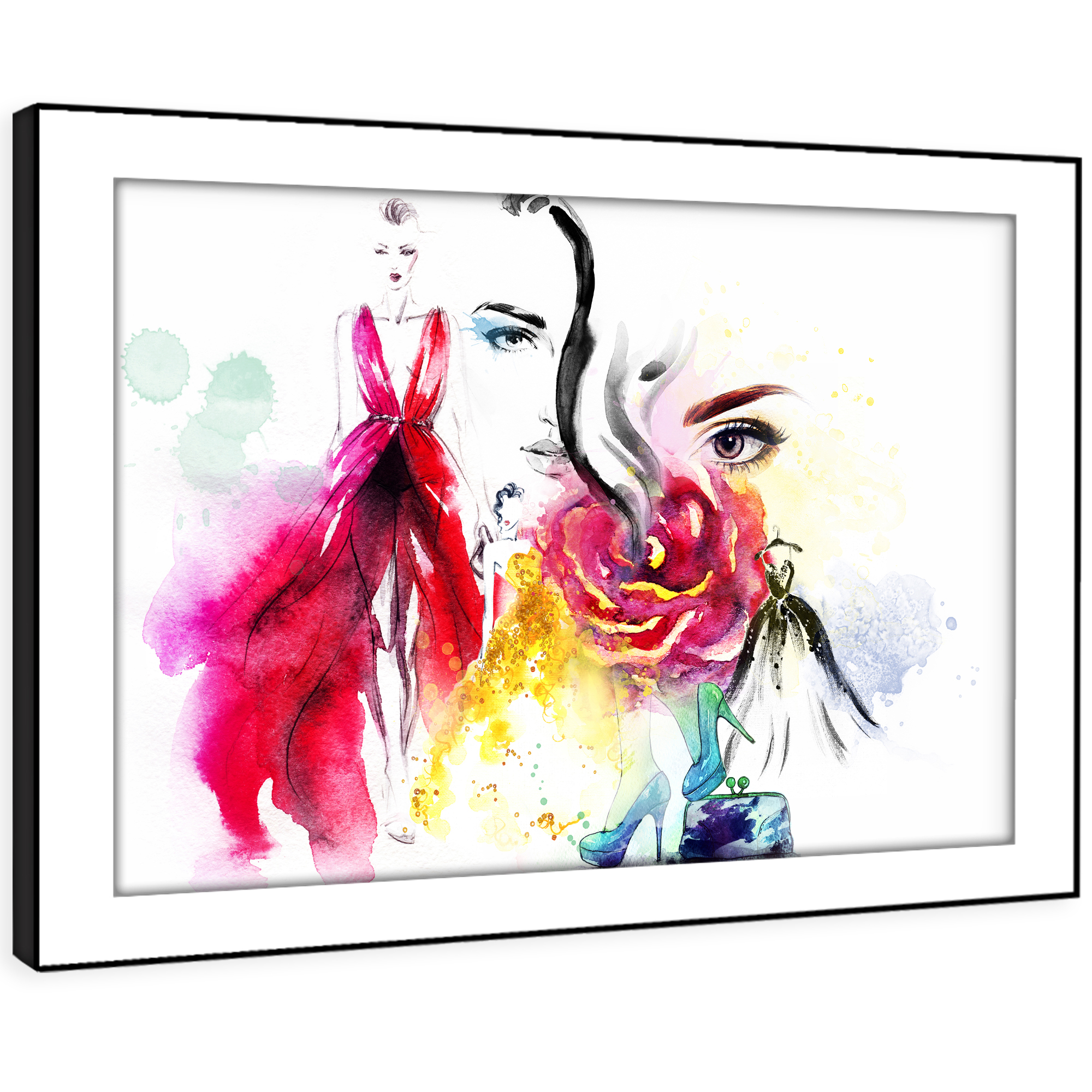 E168 Colourful Floral Woman Face Modern Framed Wall Art Large Picture Prints