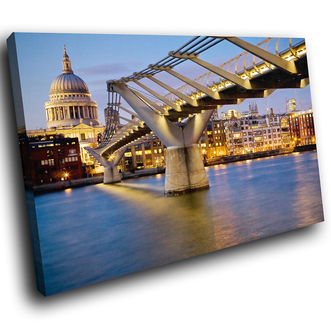 Blau Gelb Bridge London Scenic Canvas Wall Art Large Picture Prints
