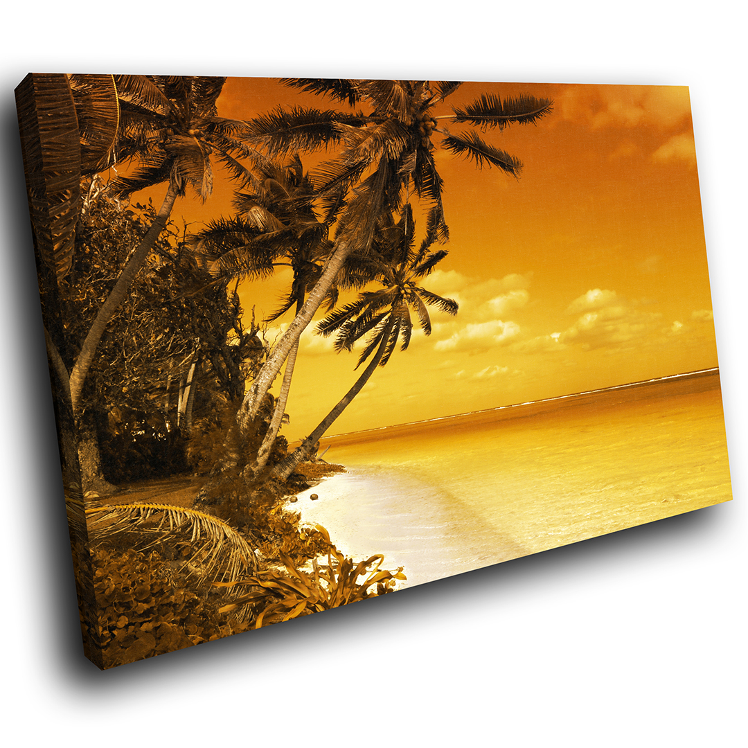 Retro braun Gelb Beach Funky Scenic Canvas Wall Art Large Picture Prints
