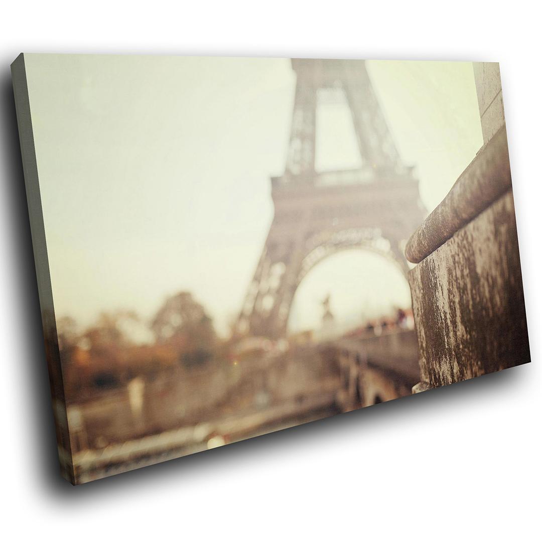 Eiffel Tower Paris Retro Scenic Canvas Wall Art Large Picture Prints