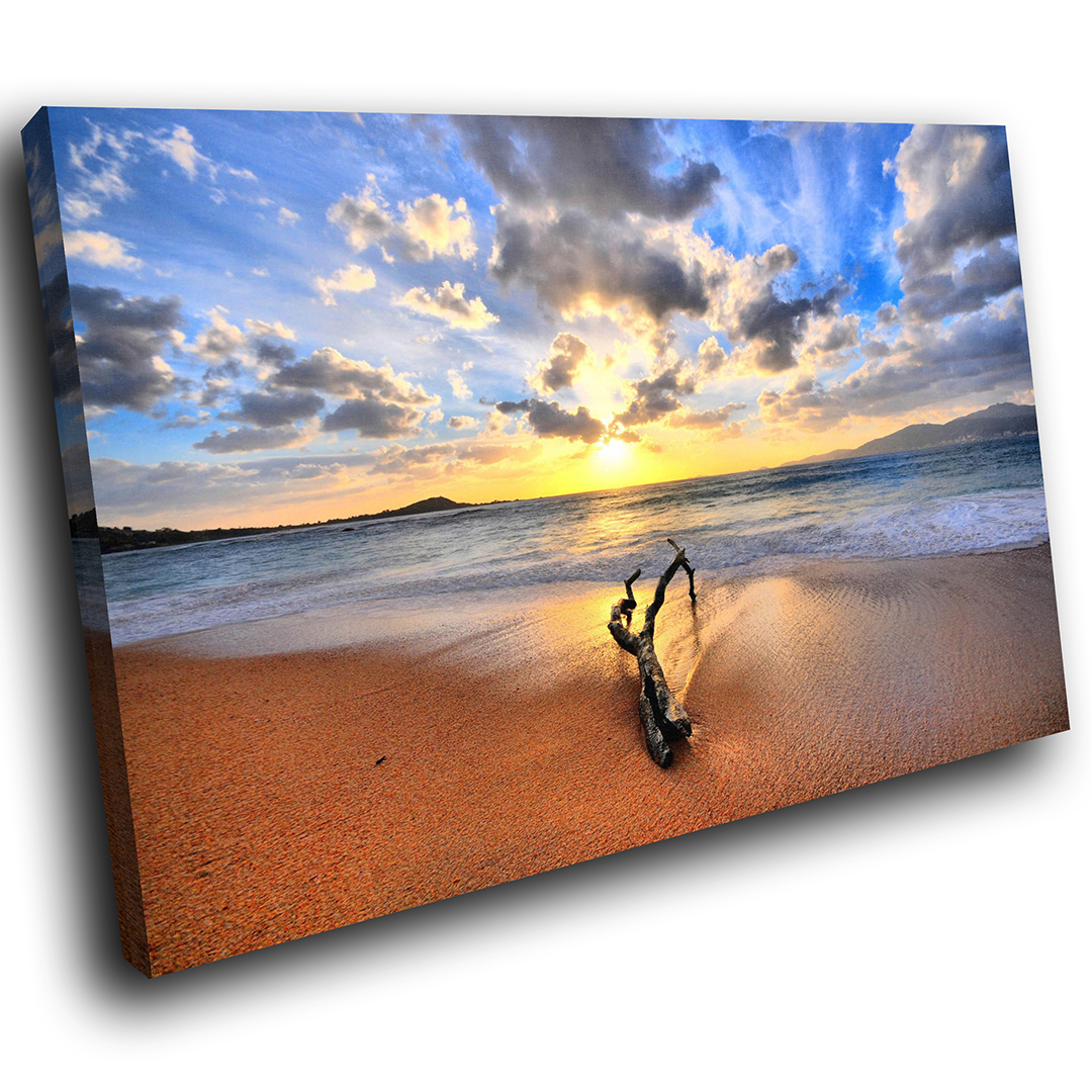Blau Gelb Tree Beach  Scenic Canvas Wall Art Large Picture Prints