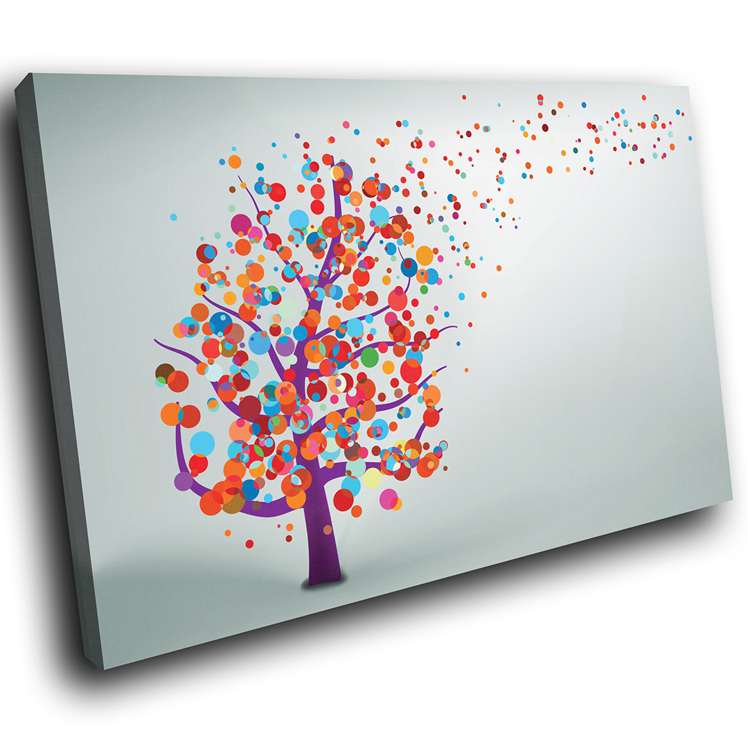 Colourful Tree Retro Nature Scenic Canvas Wall Art Large Picture Prints