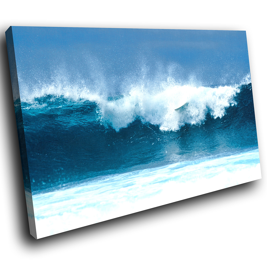Blau Weiß Wave Summer Cool Scenic Canvas Wall Art Large Picture Prints
