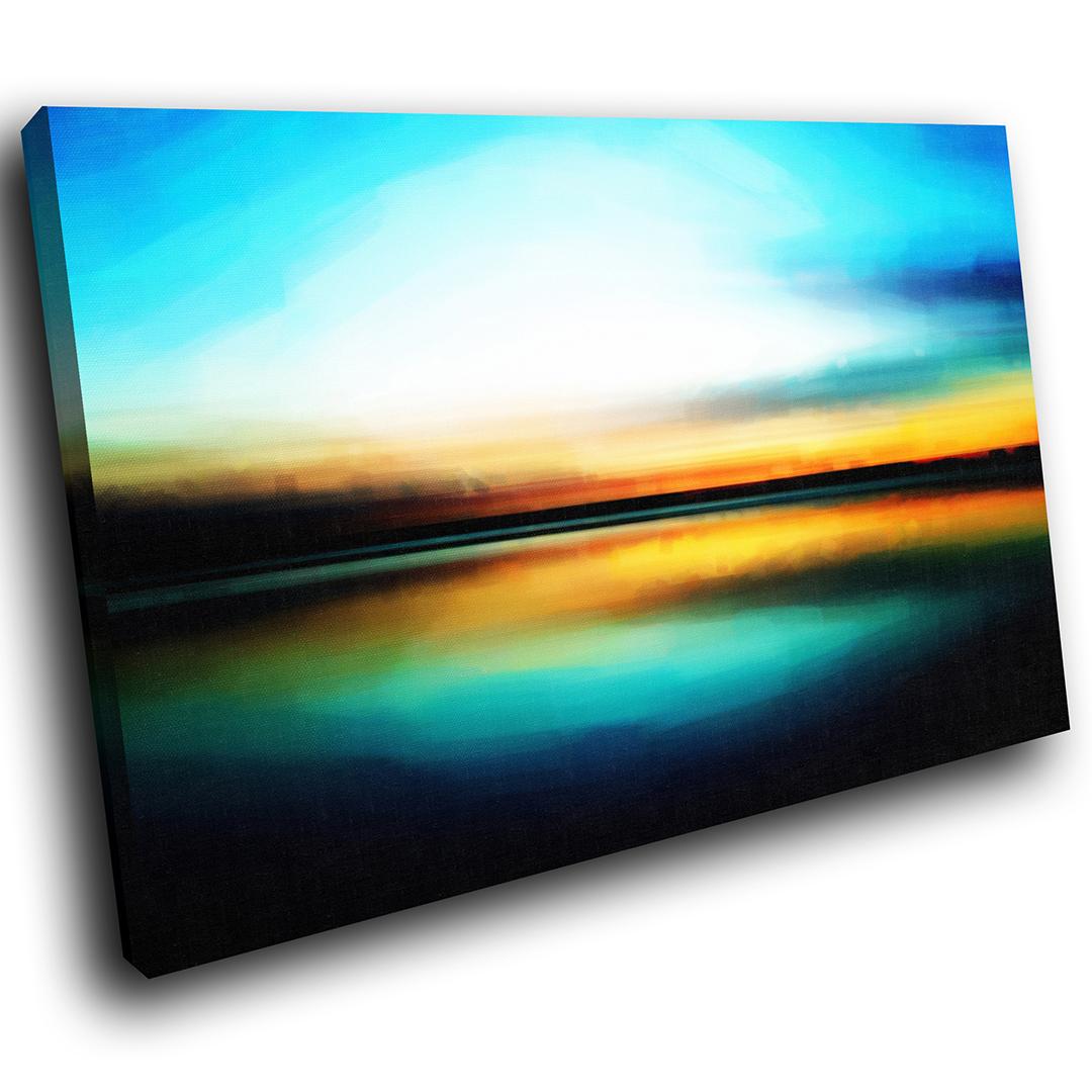 Blau Orange Sunset Nature Scenic Canvas Wall Art Large Picture Prints