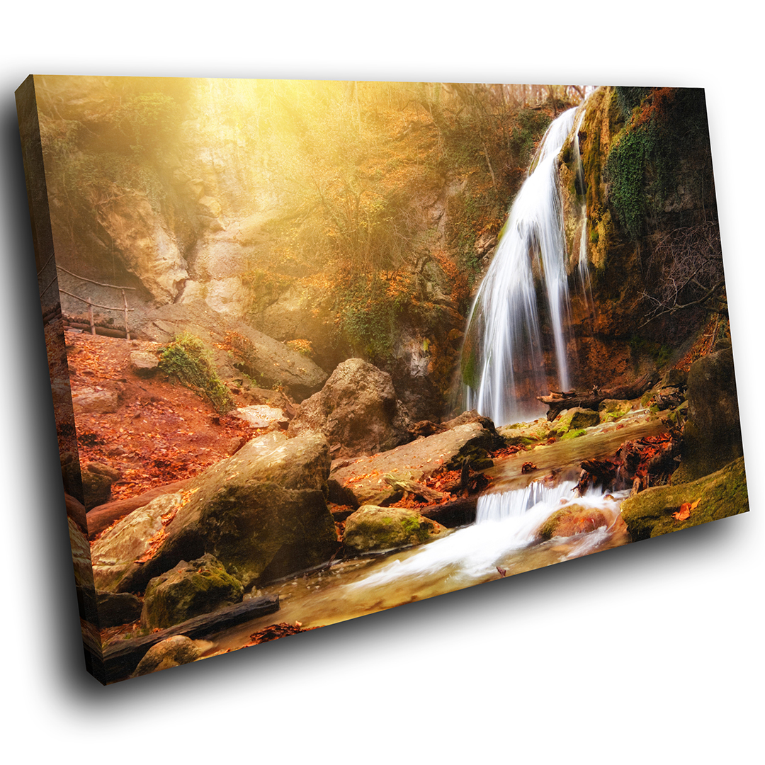 rot Orange Autumn Forest Nature Scenic Canvas Wall Art Large Picture Prints