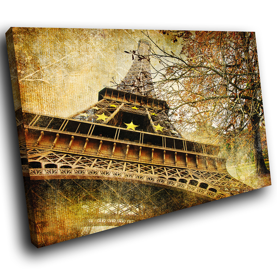 Retro Vintage Eiffel Tower Scenic Canvas Wall Art Large Picture Prints