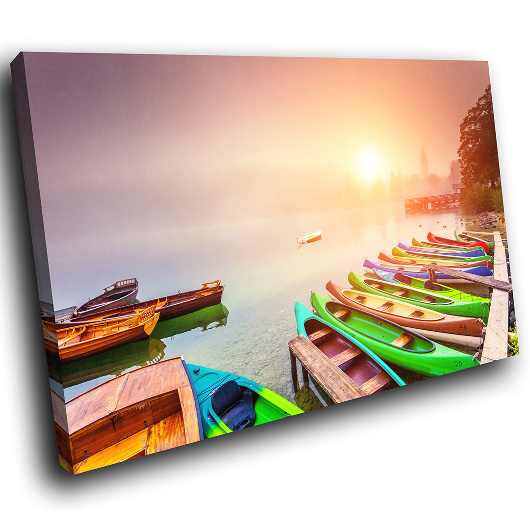 Colourful Lake Sunrise Boats Scenic Canvas Wall Art Large Picture Prints