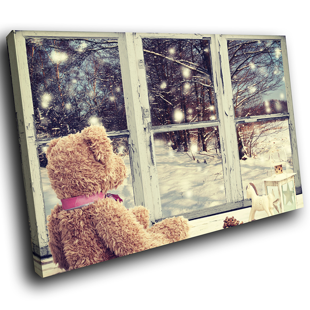 Christmas Bear Snow Tree Scenic Canvas Wall Art Large Picture Prints