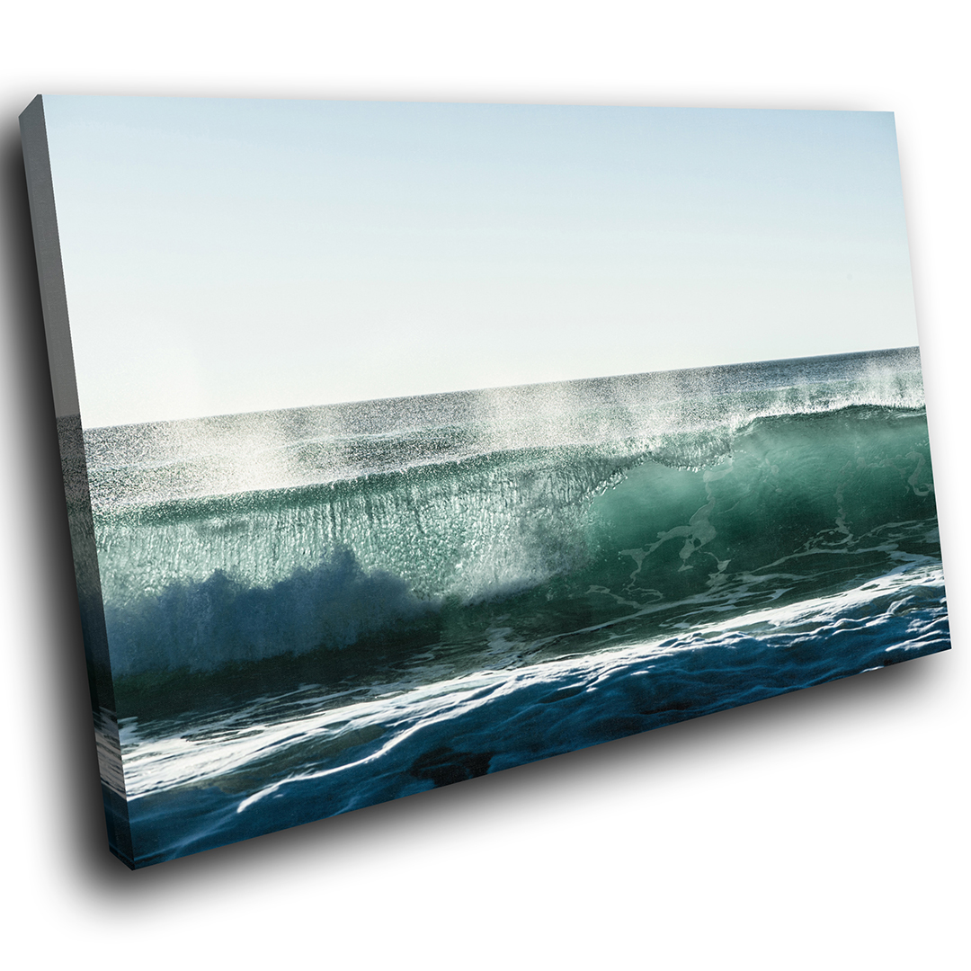 Blau Grün Wave Ocean Nature Scenic Canvas Wall Art Large Picture Prints
